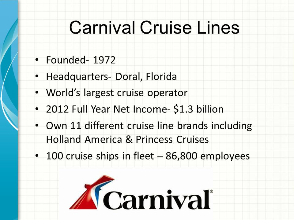 Carnival Cruise Lines Founded- 1972 Headquarters- Doral, Florida World's largest cruise operator 2012 Full Year Net Income- $1.3 billion Own 11 different cruise line brands including Holland America & Princess Cruises 100 cruise ships in fleet – 86,800 employees