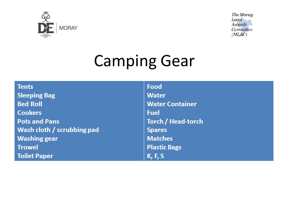 Camping Gear Tents Sleeping Bag Bed Roll Cookers Pots and Pans Wash cloth / scrubbing pad Washing gear Trowel Toilet Paper Food Water Water Container