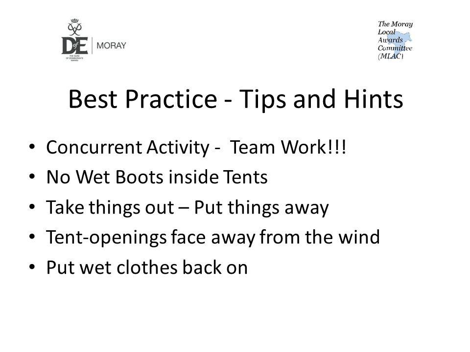 Best Practice - Tips and Hints Concurrent Activity - Team Work!!.