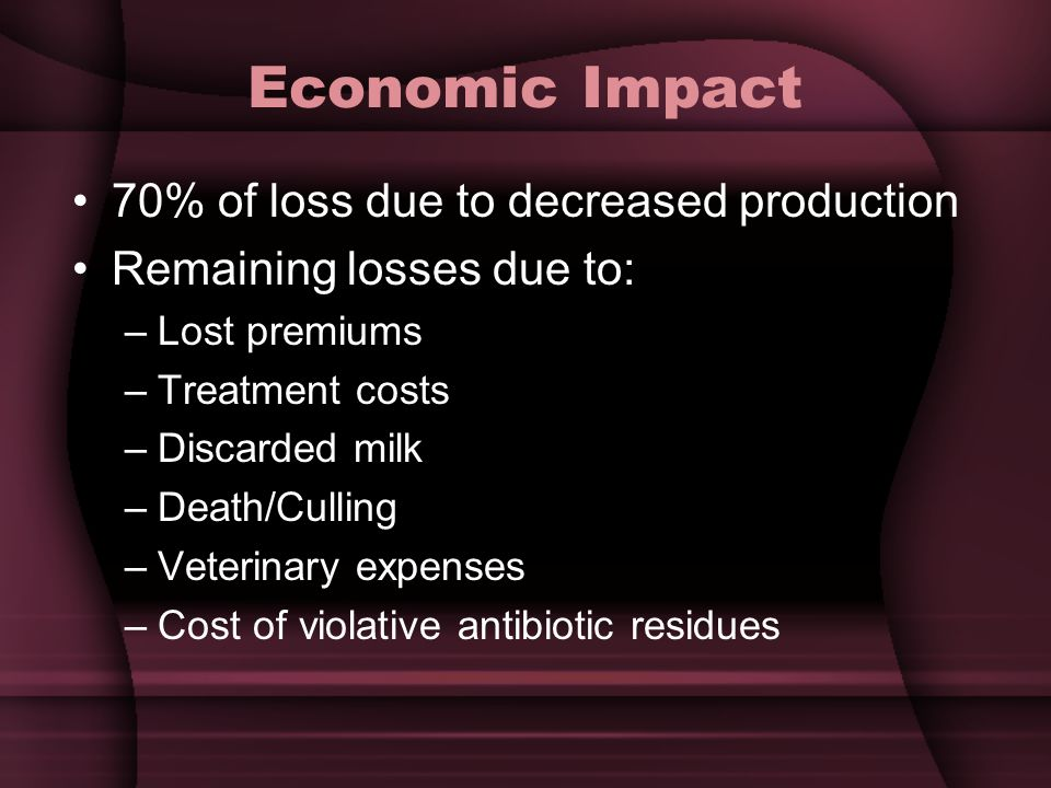 Economic Impact 70% of loss due to decreased production Remaining losses due to: –Lost premiums –Treatment costs –Discarded milk –Death/Culling –Veterinary expenses –Cost of violative antibiotic residues