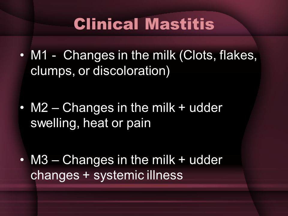 Clinical Mastitis M1 - Changes in the milk (Clots, flakes, clumps, or discoloration) M2 – Changes in the milk + udder swelling, heat or pain M3 – Changes in the milk + udder changes + systemic illness
