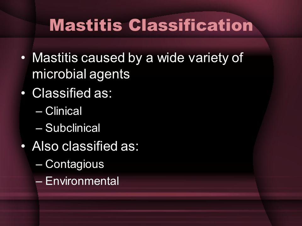 Mastitis Classification Mastitis caused by a wide variety of microbial agents Classified as: –Clinical –Subclinical Also classified as: –Contagious –Environmental