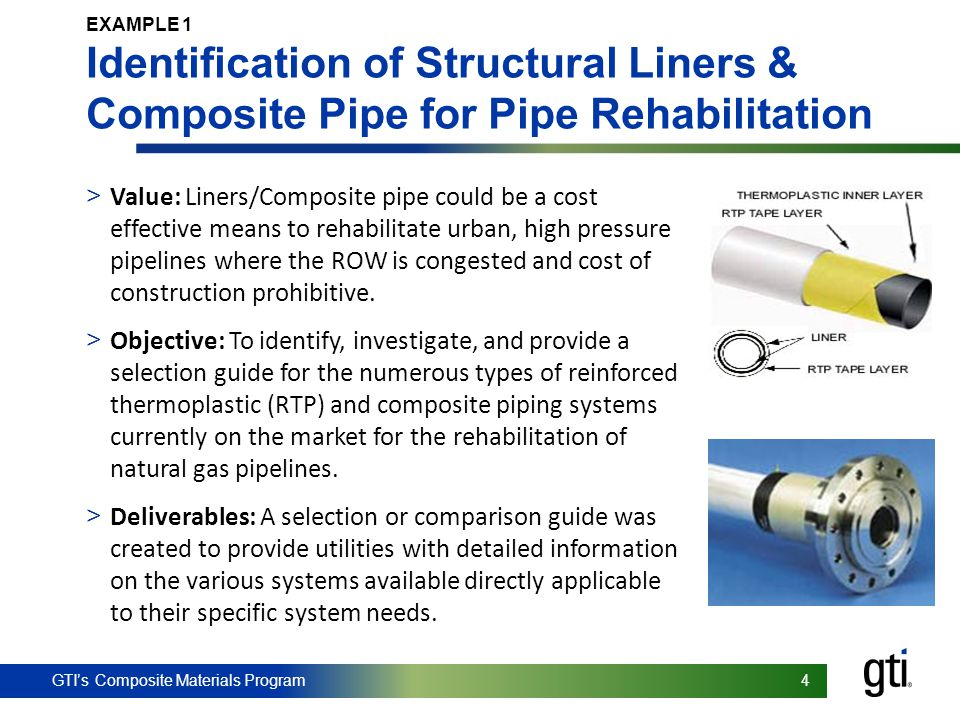 GTI's Composite Materials Program 4 4 EXAMPLE 1 Identification of Structural Liners & Composite Pipe for Pipe Rehabilitation > Value: Liners/Composite