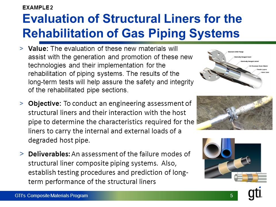 GTI's Composite Materials Program 5 5 EXAMPLE 2 Evaluation of Structural Liners for the Rehabilitation of Gas Piping Systems >Value: The evaluation of