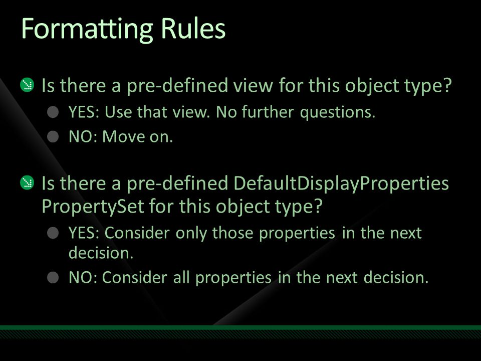 Formatting Rules Is there a pre-defined view for this object type.