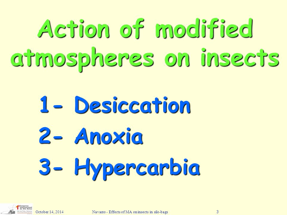 October 14, 2014Navarro - Effects of MA on insects in silo-bags3 Action of modified atmospheres on insects 1- Desiccation 2- Anoxia 3- Hypercarbia