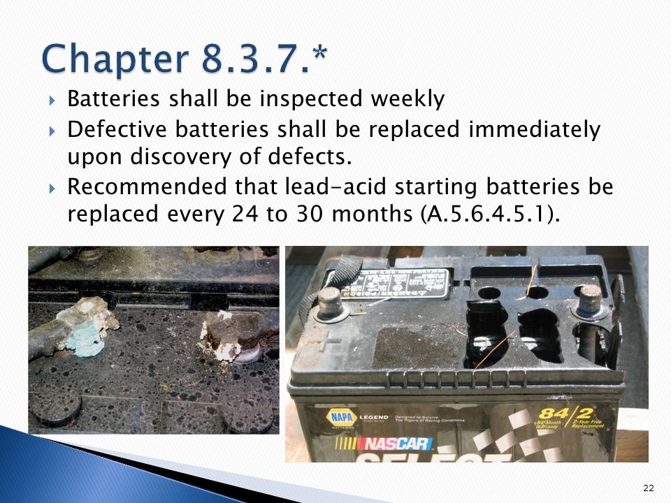  Batteries shall be inspected weekly  Defective batteries shall be replaced immediately upon discovery of defects.