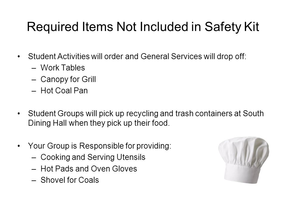 Required Items Not Included in Safety Kit Student Activities will order and General Services will drop off: –Work Tables –Canopy for Grill –Hot Coal P