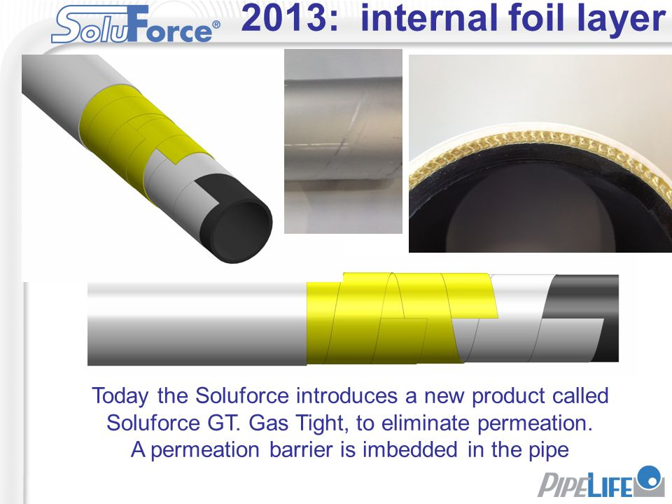 2013: internal foil layer Today the Soluforce introduces a new product called Soluforce GT. Gas Tight, to eliminate permeation. A permeation barrier i