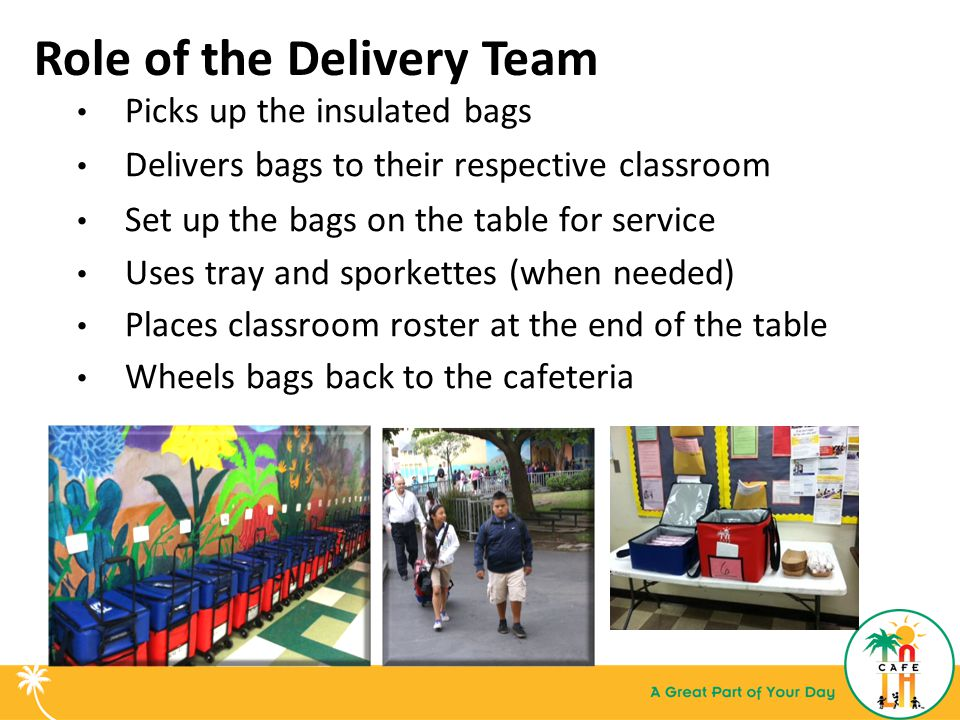 Role of the Delivery Team Picks up the insulated bags Delivers bags to their respective classroom Set up the bags on the table for service Uses tray and sporkettes (when needed) Places classroom roster at the end of the table Wheels bags back to the cafeteria