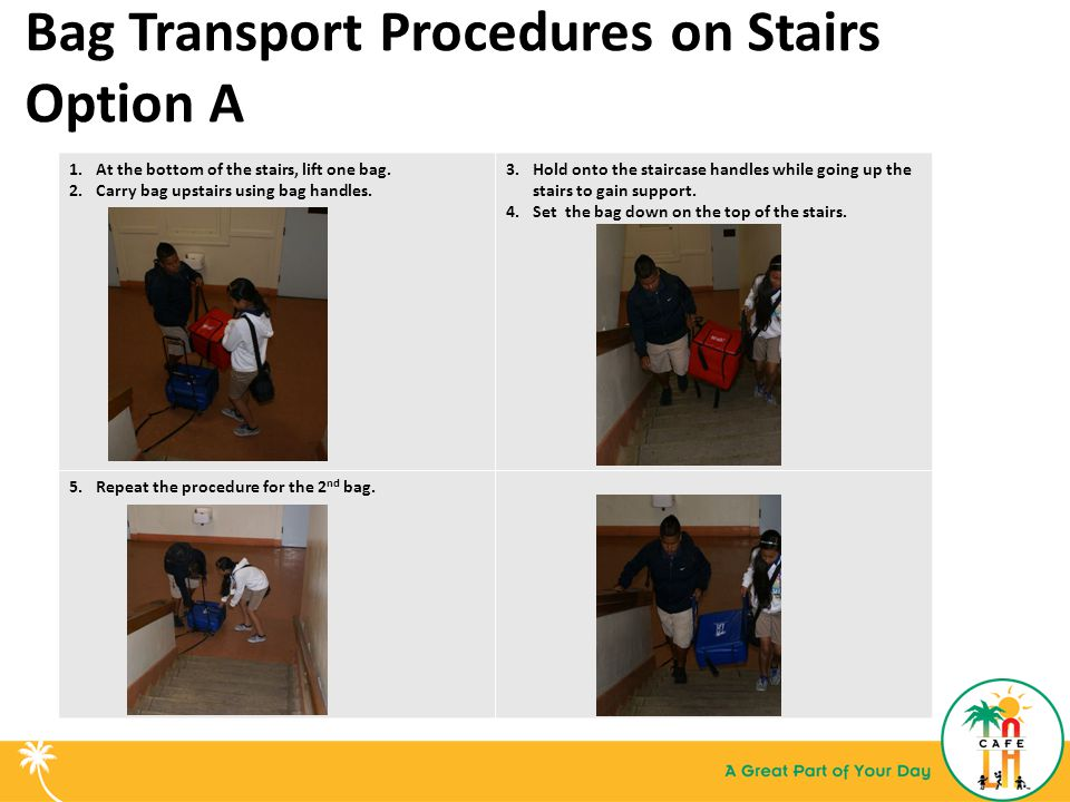 Bag Transport Procedures on Stairs Option A 1.At the bottom of the stairs, lift one bag.