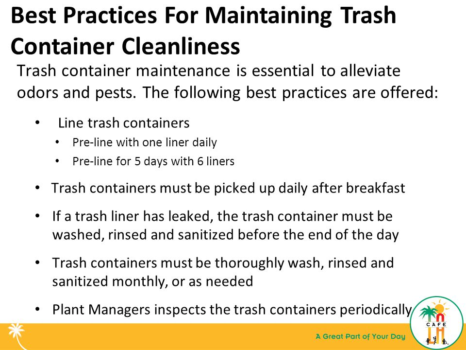 Best Practices For Maintaining Trash Container Cleanliness Trash container maintenance is essential to alleviate odors and pests.