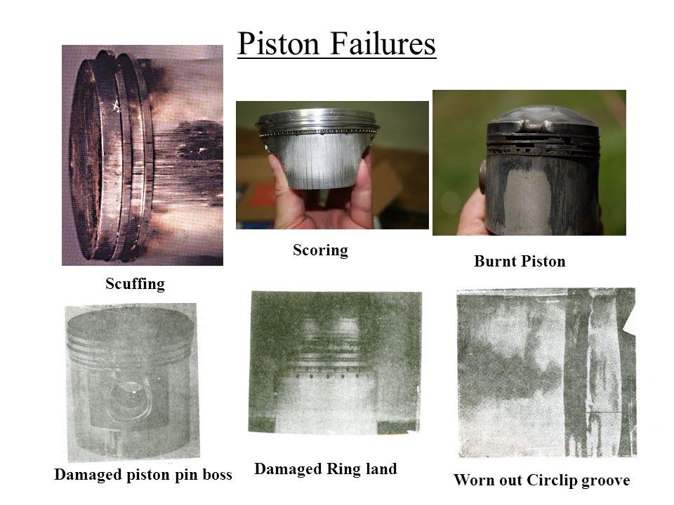 Piston Failures Scuffing Scoring Burnt Piston Worn out Circlip groove Damaged piston pin boss Damaged Ring land