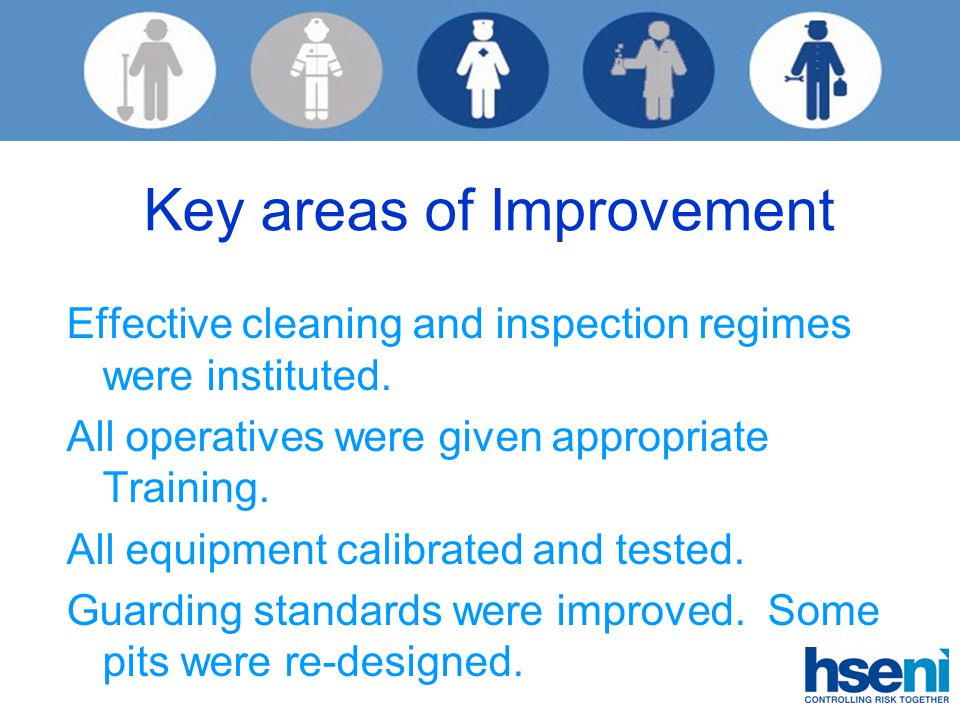 Key areas of Improvement Effective cleaning and inspection regimes were instituted.