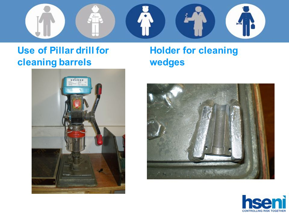 Use of Pillar drill for cleaning barrels Holder for cleaning wedges