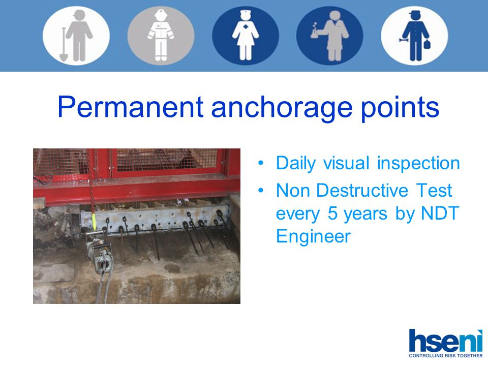 Permanent anchorage points Daily visual inspection Non Destructive Test every 5 years by NDT Engineer