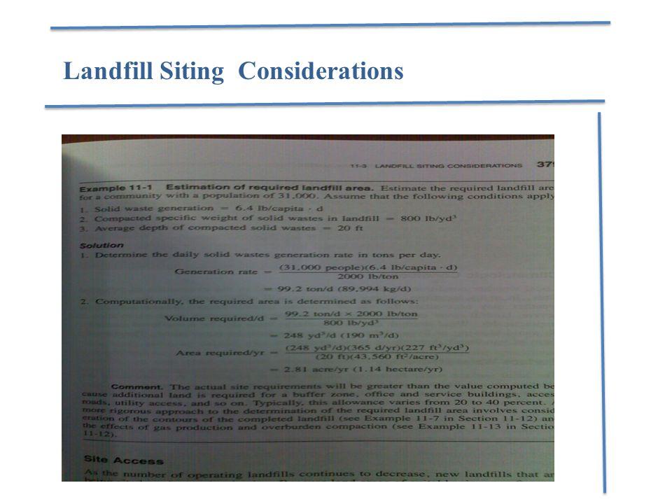 Landfill Siting Considerations
