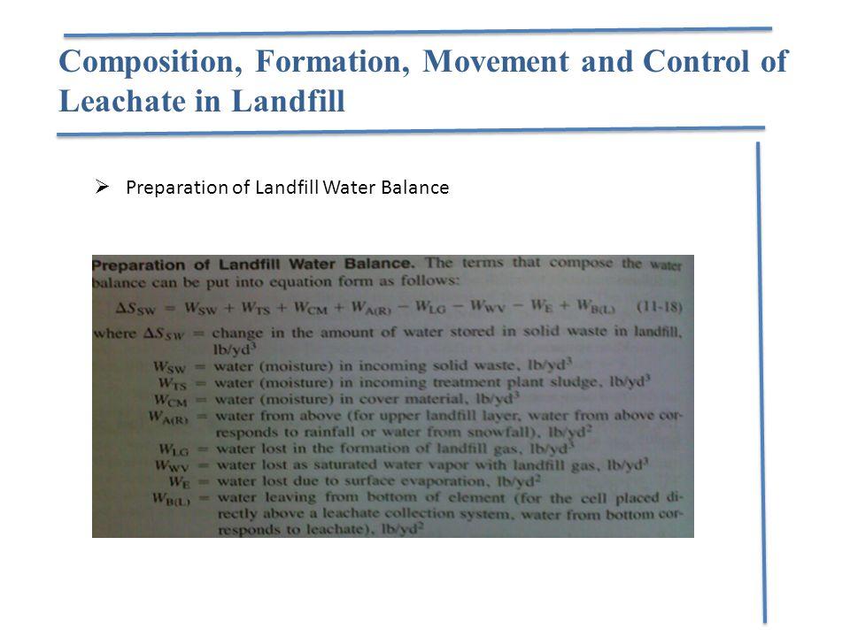  Preparation of Landfill Water Balance