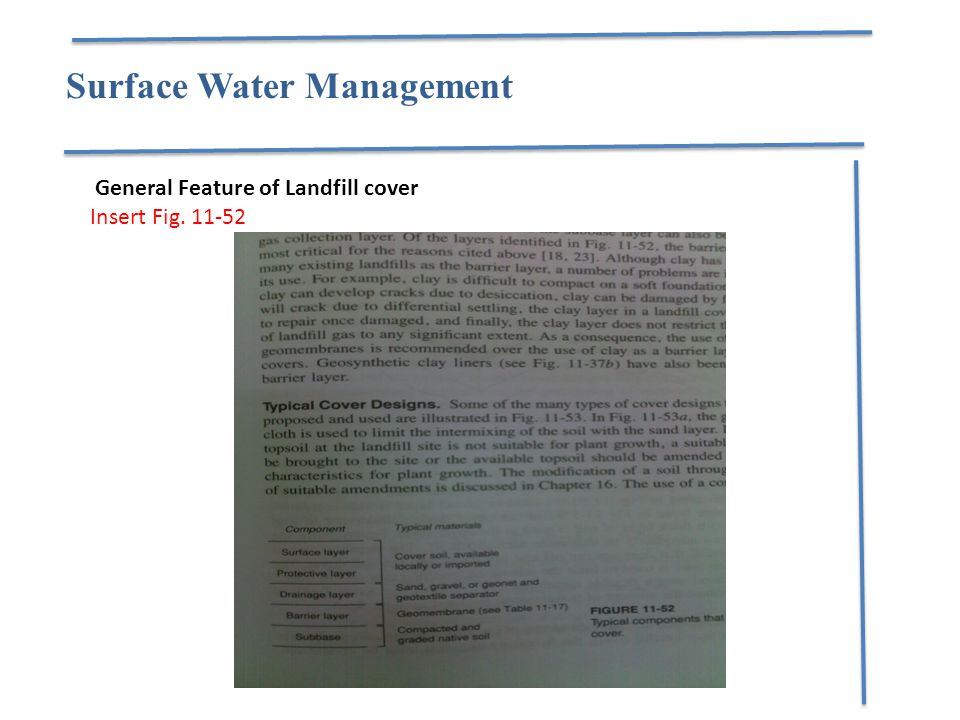 Surface Water Management General Feature of Landfill cover Insert Fig. 11-52