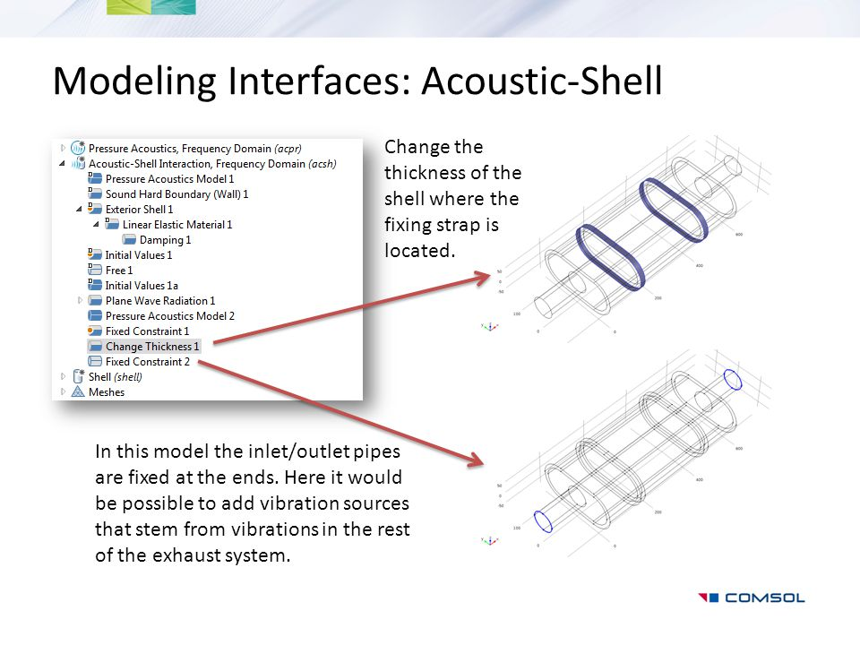 Modeling Interfaces: Acoustic-Shell Change the thickness of the shell where the fixing strap is located. In this model the inlet/outlet pipes are fixe