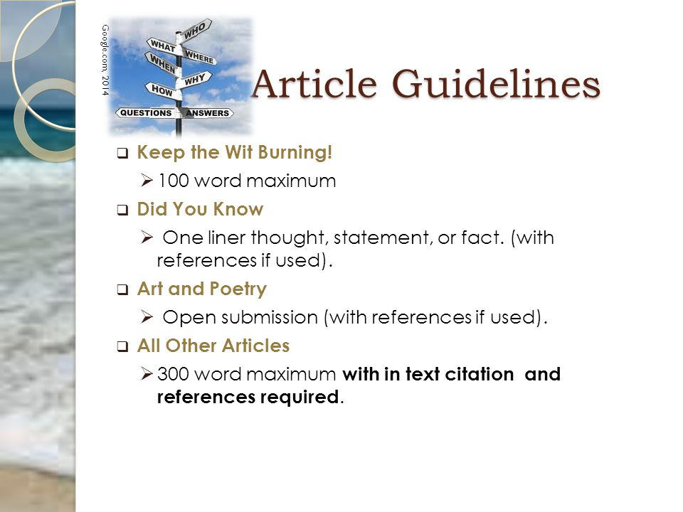 Article Guidelines Article Guidelines   Keep the Wit Burning.