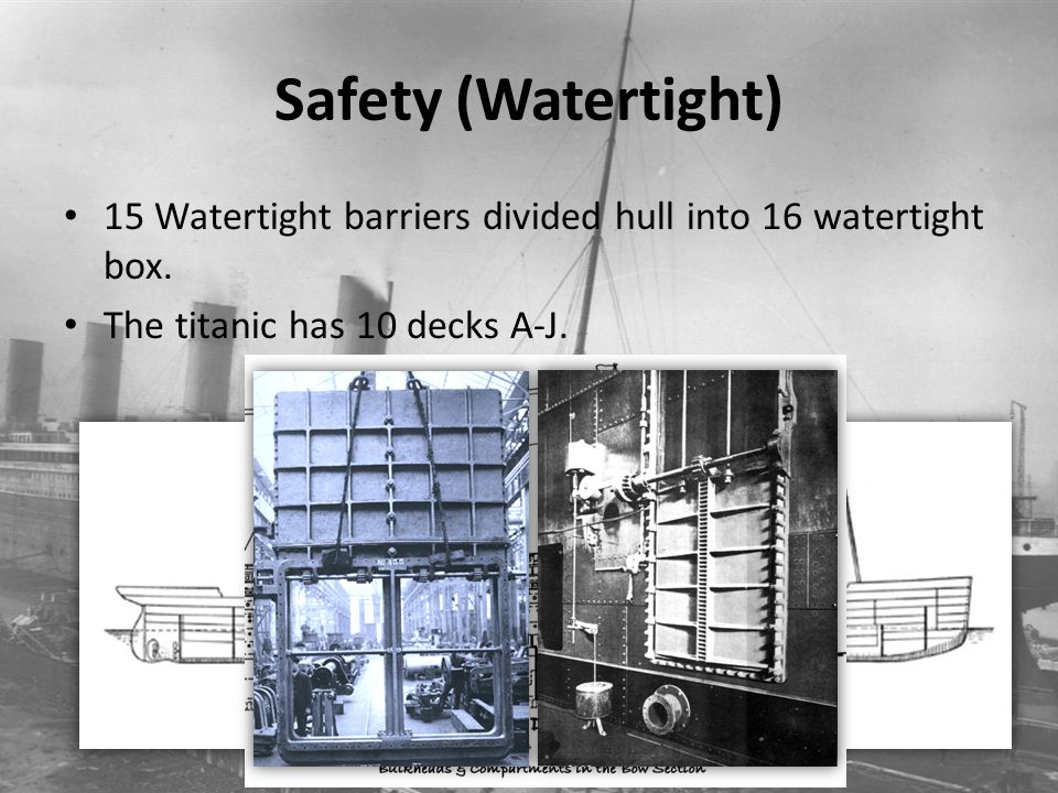 Safety (Watertight) 15 Watertight barriers divided hull into 16 watertight box. The titanic has 10 decks A-J.