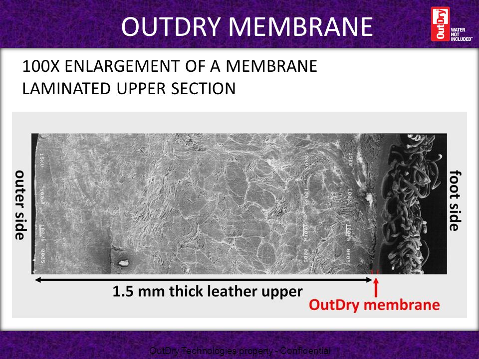 100X ENLARGEMENT OF A MEMBRANE LAMINATED UPPER SECTION OUTDRY MEMBRANE OutDry Technologies property - Confidential