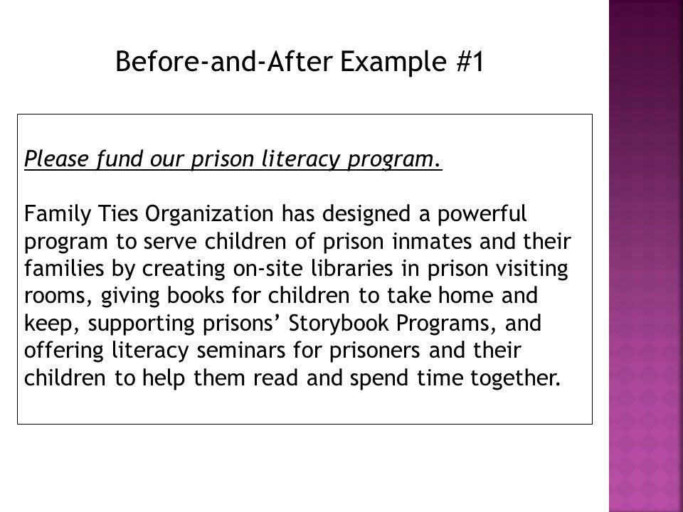 Please fund our prison literacy program.