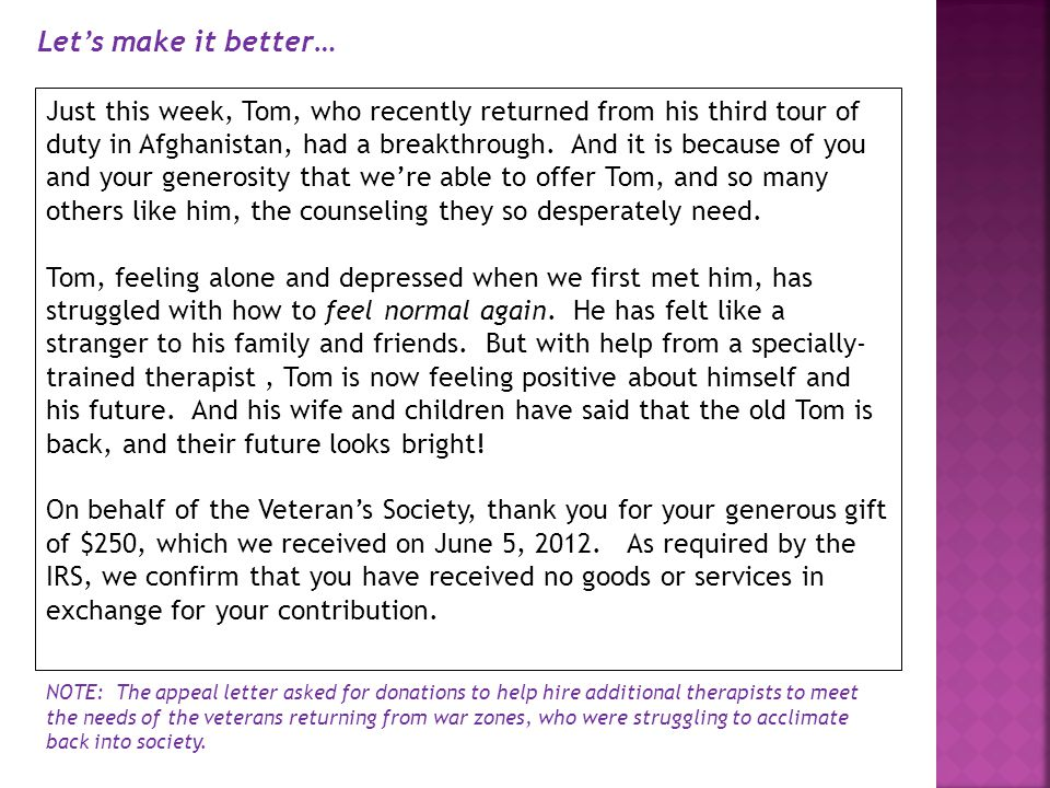 Just this week, Tom, who recently returned from his third tour of duty in Afghanistan, had a breakthrough.