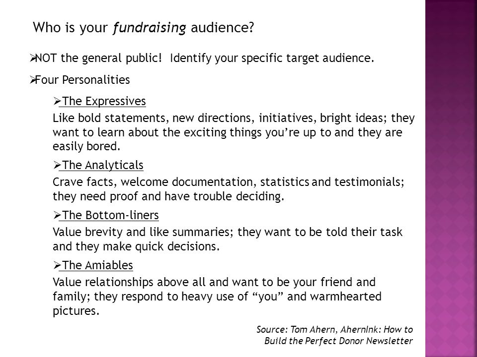 Who is your fundraising audience. NOT the general public.