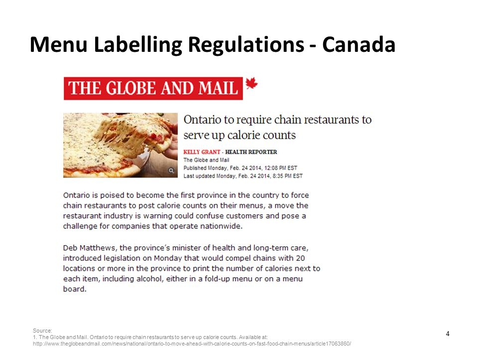 5 Availability of nutrition information Quick-service 2012 Source: Hobin E, Lebenbaum M, Rosella L, Hammond D.