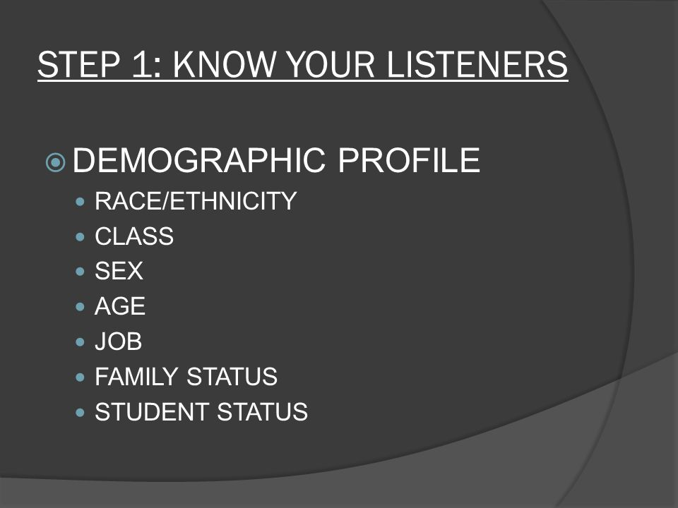 STEP 1: KNOW YOUR LISTENERS  DEMOGRAPHIC PROFILE RACE/ETHNICITY CLASS SEX AGE JOB FAMILY STATUS STUDENT STATUS