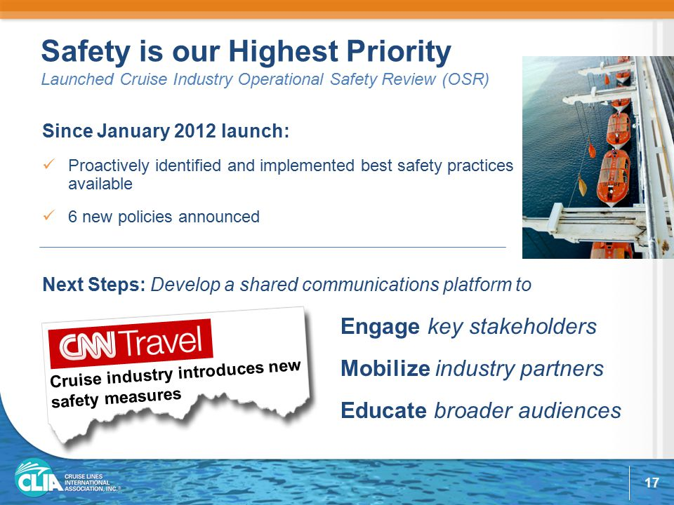 Safety is our Highest Priority Launched Cruise Industry Operational Safety Review (OSR) Since January 2012 launch: Proactively identified and implemented best safety practices available 6 new policies announced Engage key stakeholders Mobilize industry partners Educate broader audiences Next Steps: Develop a shared communications platform to Cruise industry introduces new safety measures 17