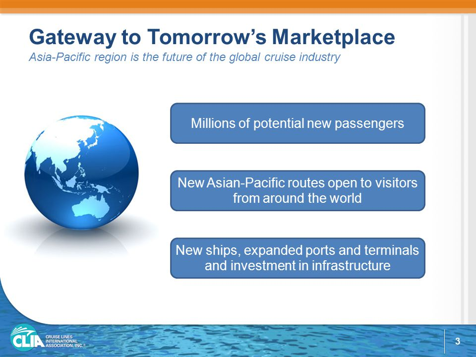 Gateway to Tomorrow's Marketplace Asia-Pacific region is the future of the global cruise industry Millions of potential new passengers New ships, expanded ports and terminals and investment in infrastructure New Asian-Pacific routes open to visitors from around the world 3