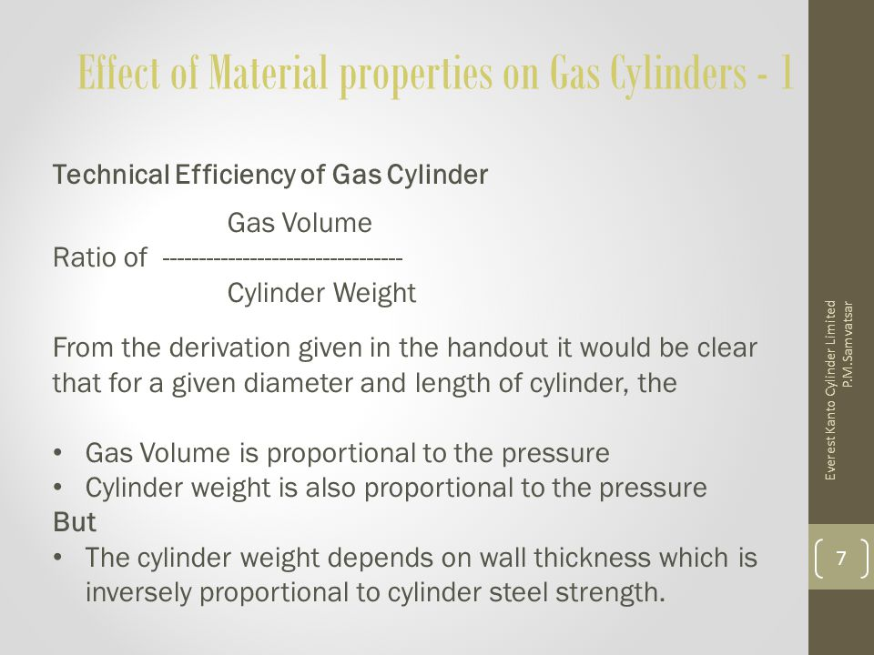 Effect of Material properties on Gas Cylinders – 2 Conclusion : For a given water capacity and diameter of cylinder, the ratio of gas volume / cylinder weight i.
