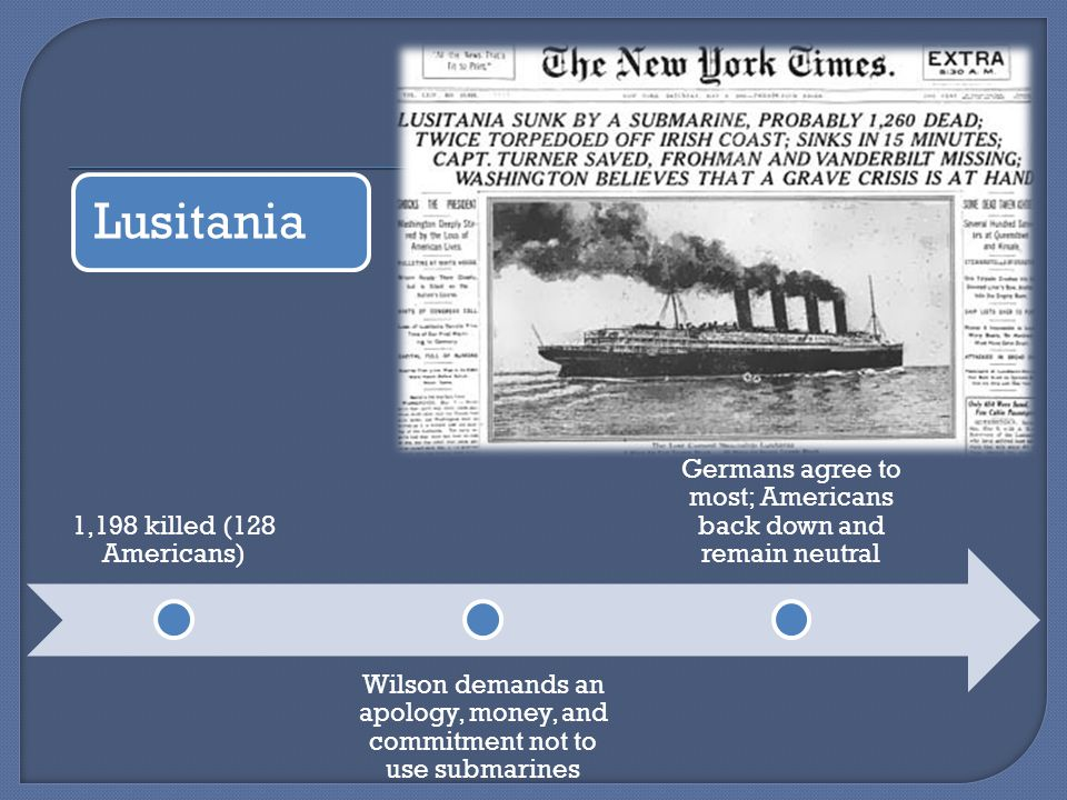 Lusitania 1,198 killed (128 Americans) Wilson demands an apology, money, and commitment not to use submarines Germans agree to most; Americans back down and remain neutral