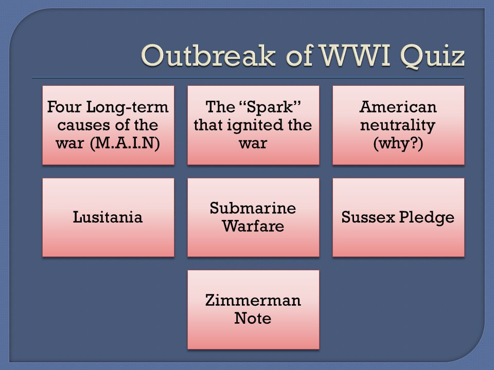 Four Long-term causes of the war (M.A.I.N) The Spark that ignited the war American neutrality (why?) Lusitania Submarine Warfare Sussex Pledge Zimmerman Note
