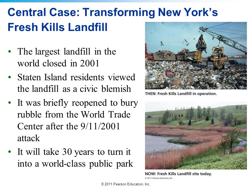 © 2011 Pearson Education, Inc. Central Case: Transforming New York's Fresh Kills Landfill The largest landfill in the world closed in 2001 Staten Isla