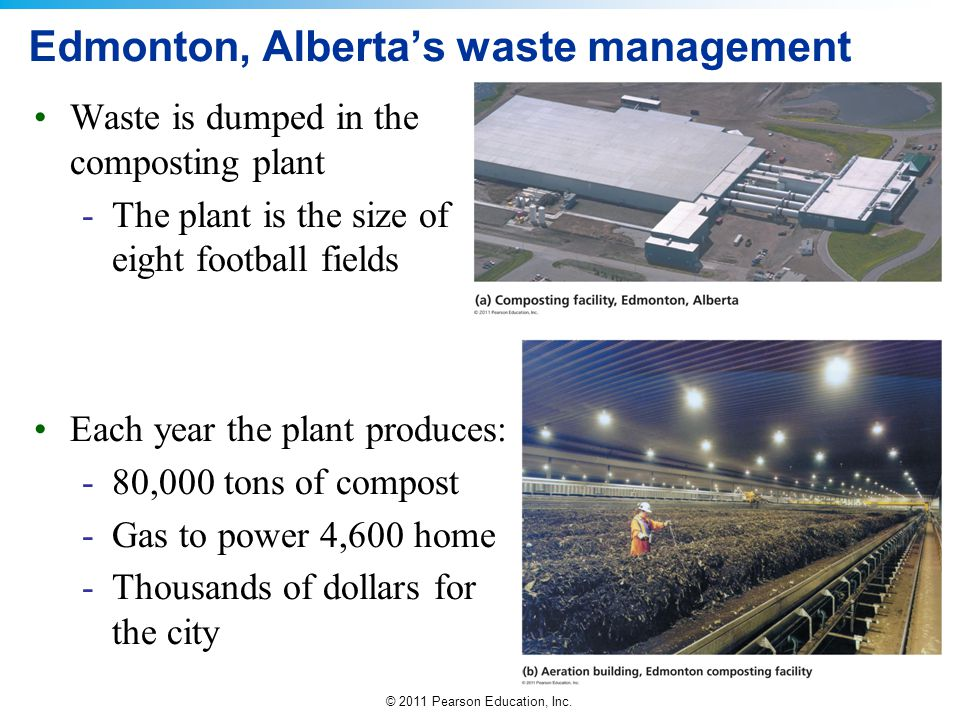 © 2011 Pearson Education, Inc. Edmonton, Alberta's waste management Waste is dumped in the composting plant -The plant is the size of eight football f