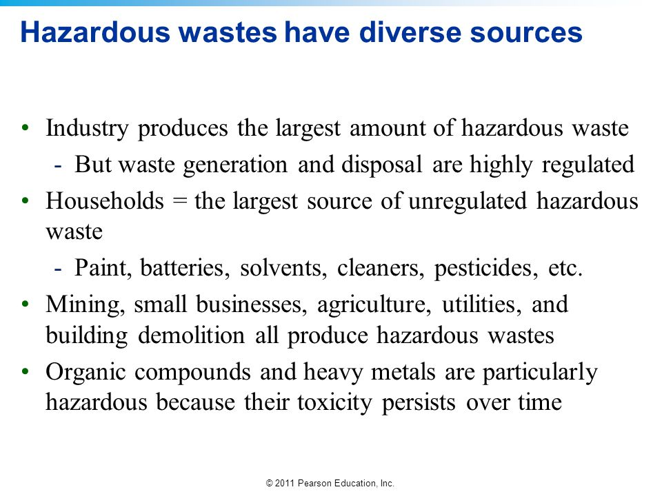 © 2011 Pearson Education, Inc. Hazardous wastes have diverse sources Industry produces the largest amount of hazardous waste -But waste generation and
