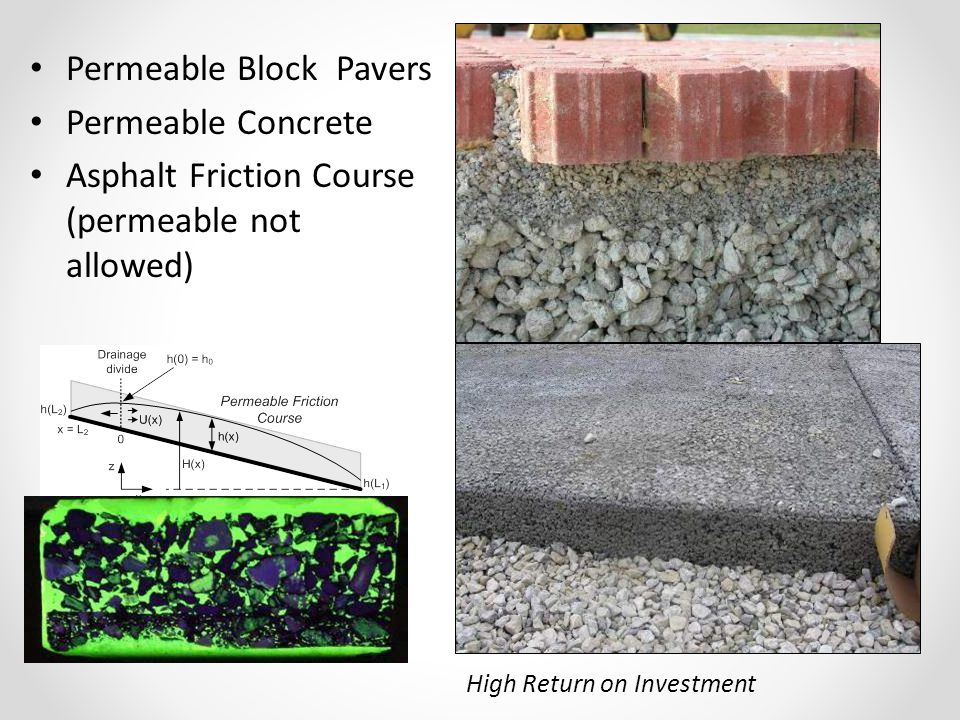 High Return on Investment Permeable Block Pavers Permeable Concrete Asphalt Friction Course (permeable not allowed)