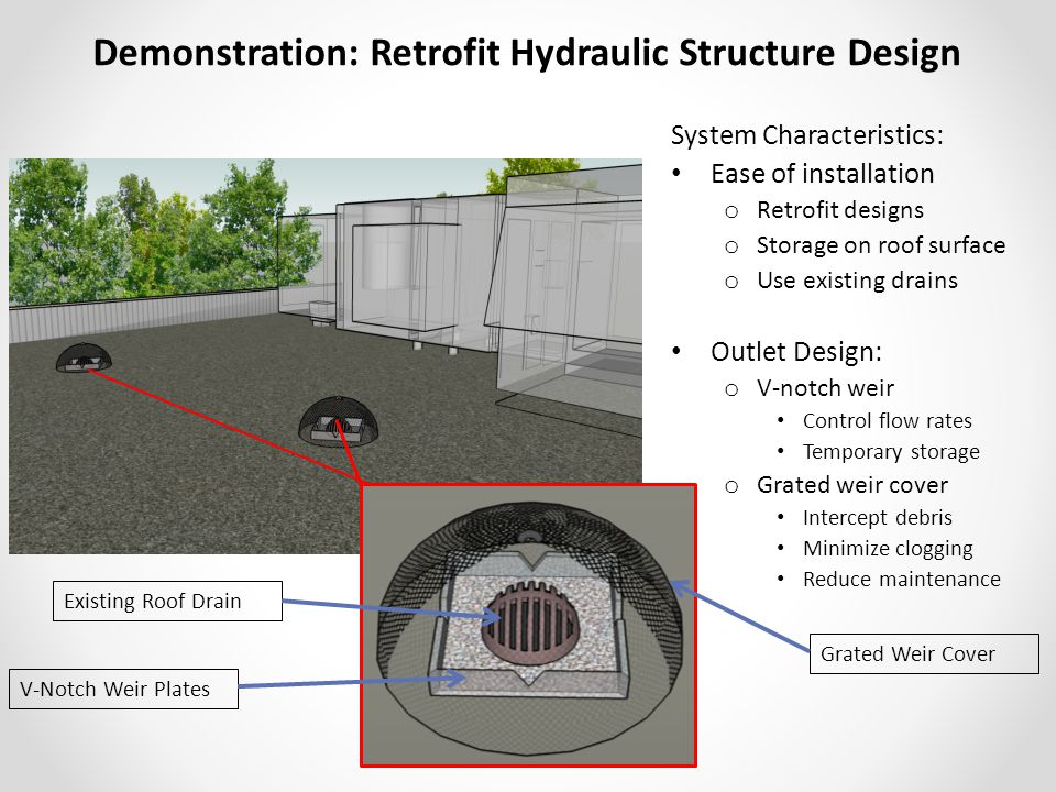 Demonstration: Retrofit Hydraulic Structure Design System Characteristics: Ease of installation o Retrofit designs o Storage on roof surface o Use existing drains Outlet Design: o V-notch weir Control flow rates Temporary storage o Grated weir cover Intercept debris Minimize clogging Reduce maintenance Existing Roof Drain V-Notch Weir Plates Grated Weir Cover