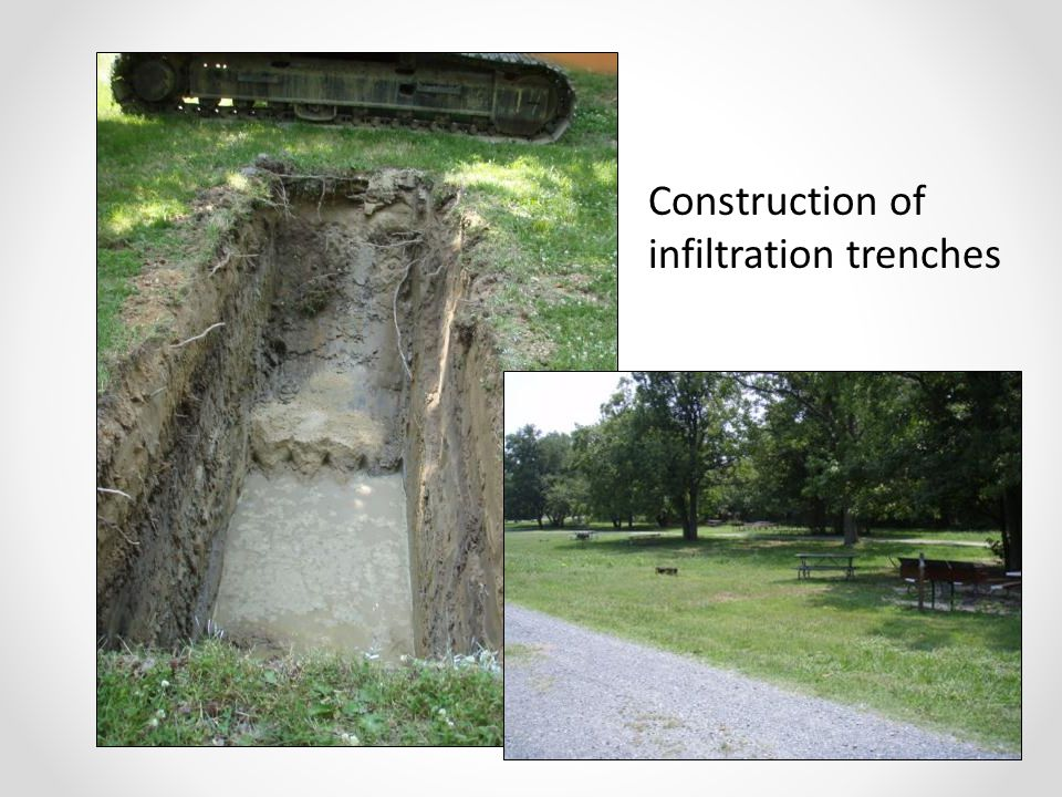 Construction of infiltration trenches