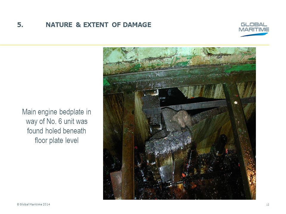 © Global Maritime 2014 5.NATURE & EXTENT OF DAMAGE 12 Main engine bedplate in way of No. 6 unit was found holed beneath floor plate level