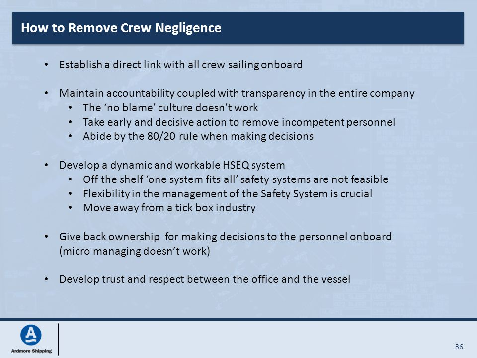 36 How to Remove Crew Negligence Establish a direct link with all crew sailing onboard Maintain accountability coupled with transparency in the entire
