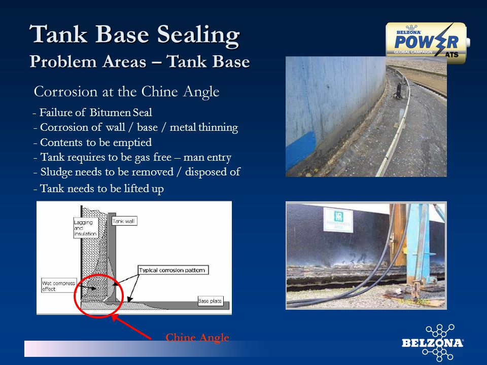 - Tank needs to be lifted up Chine Angle - Failure of Bitumen Seal Corrosion at the Chine Angle - Corrosion of wall / base / metal thinning - Contents