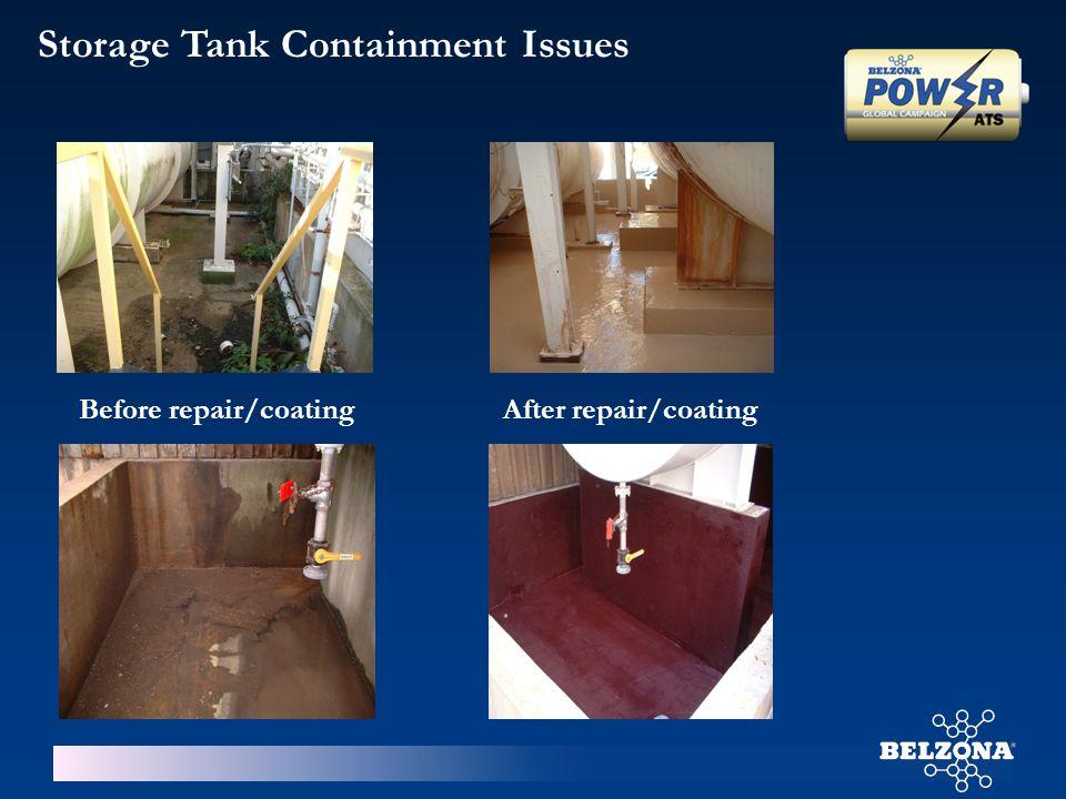 Storage Tank Containment Issues Before repair/coatingAfter repair/coating