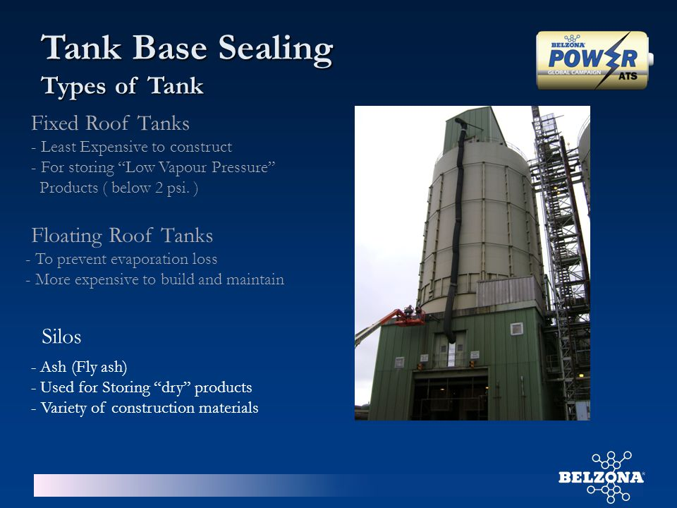 """Fixed Roof Tanks - Least Expensive to construct - For storing """"Low Vapour Pressure"""" Products ( below 2 psi. ) Floating Roof Tanks - To prevent evapora"""