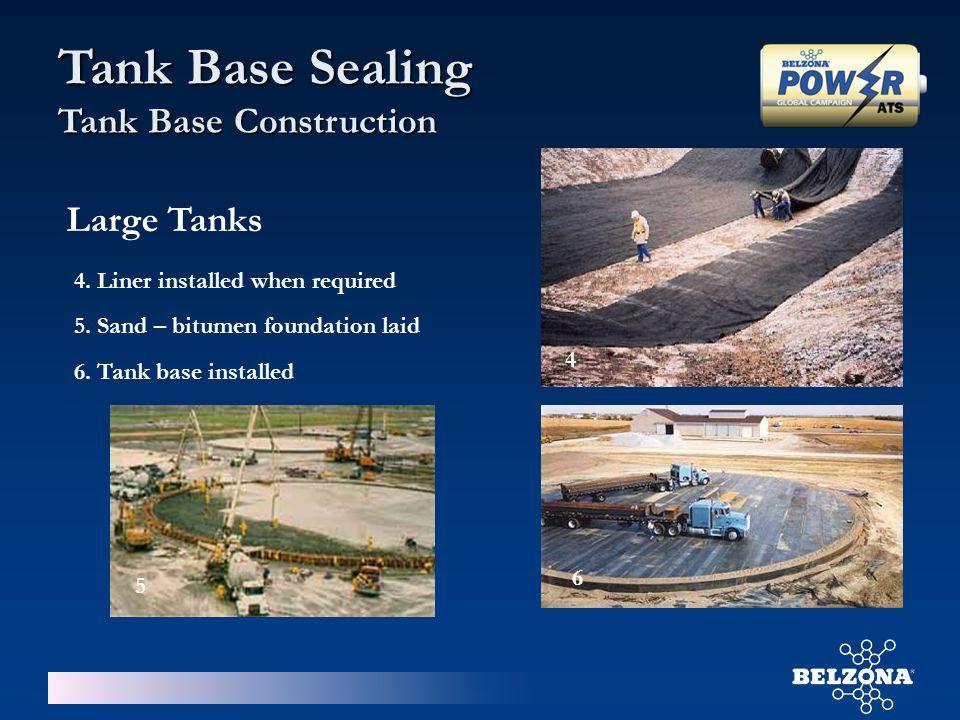 4. Liner installed when required 5. Sand – bitumen foundation laid 6. Tank base installed 4 5 6 Large Tanks Tank Base Sealing Tank Base Construction