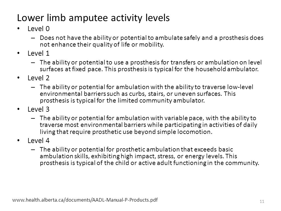 Lower limb amputee activity levels Level 0 – Does not have the ability or potential to ambulate safely and a prosthesis does not enhance their quality